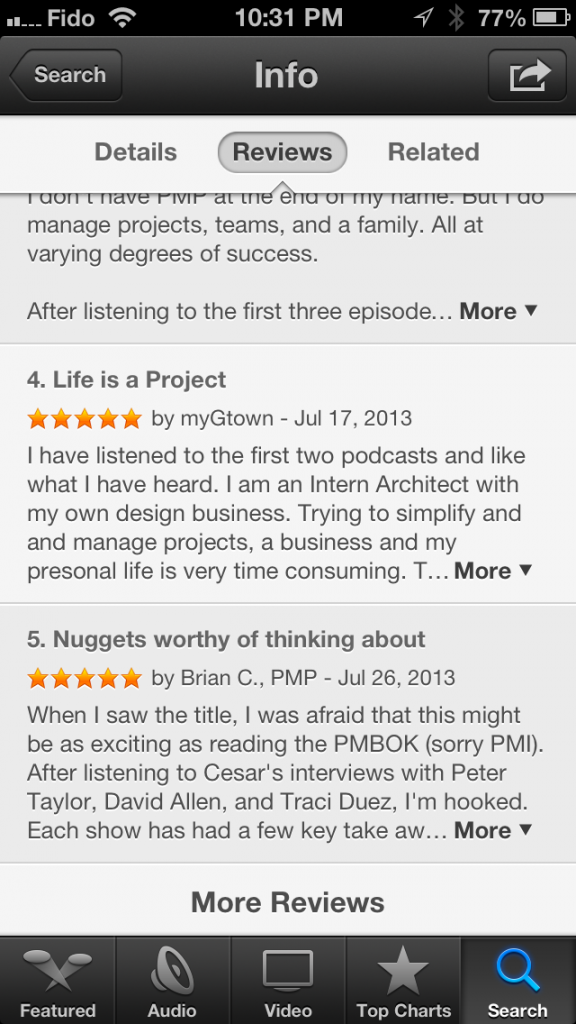 New Podcasts app update shows reviews from all iTunes Stores around the world.